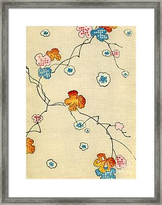 Woodblock Print Of Fall Leaves Framed Print by Japanese School