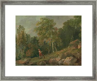 Wooded Landscape With A Boy And His Dog Framed Print by MotionAge Designs