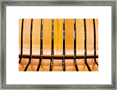 Wooden Bench Framed Print by Tom Gowanlock