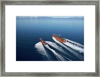 Wooden Boat Aerial Framed Print by Steven Lapkin