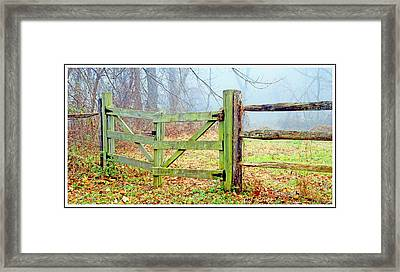 Wooden Fence On A Foggy Morning Framed Print