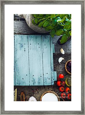 Wooden Planks With Food Framed Print by Mythja Photography
