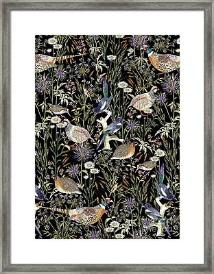 Woodland Edge Birds Framed Print by Jacqueline Colley