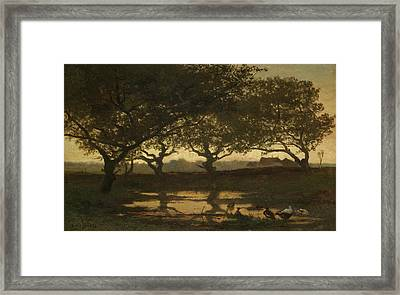 Woodland Pond At Sunset Framed Print by Gerard Bilders