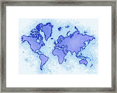 World Map Airy In Blue And White Framed Print by Eleven Corners