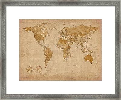 World map antique style digital art by michael tompsett world map antique style framed print by michael tompsett publicscrutiny Choice Image