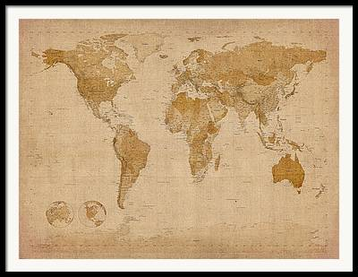 Old World Map Framed Prints