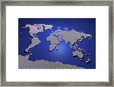 World Map In Blue Framed Print by Michael Tompsett