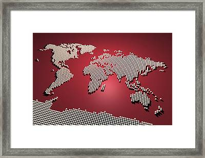World Map In Red Framed Print by Michael Tompsett