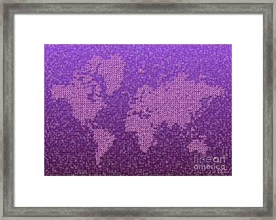 World Map Kotak In Purple Framed Print