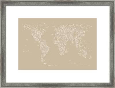 World Map Of Cities Framed Print by Michael Tompsett