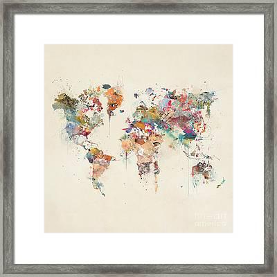 World Map Watercolor Framed Print by Bri B