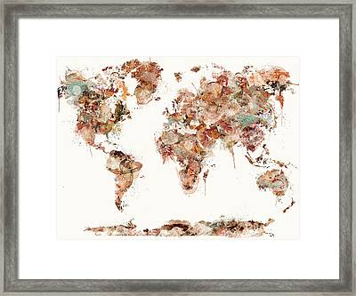 Framed Print featuring the painting World Map Watercolors by Bri B