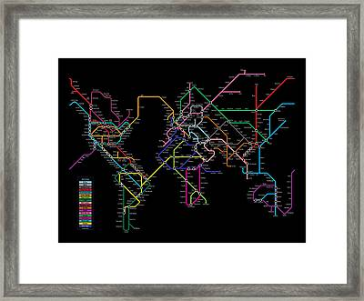 World Metro Map Framed Print