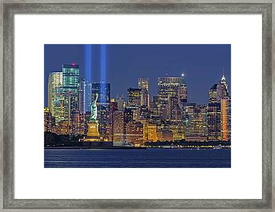 Framed Print featuring the photograph World Trade Center Wtc Tribute In Light Memorial II by Susan Candelario