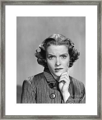 Worried Woman, C.1950-60s Framed Print by Debrocke/ClassicStock