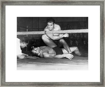 Wrestling Champion Jim Londos Framed Print by Underwood Archives