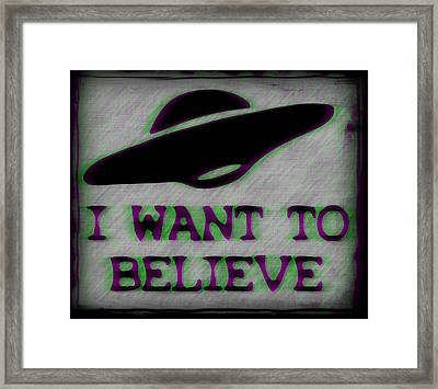 X Files I Want To Believe Framed Print by Kyle West