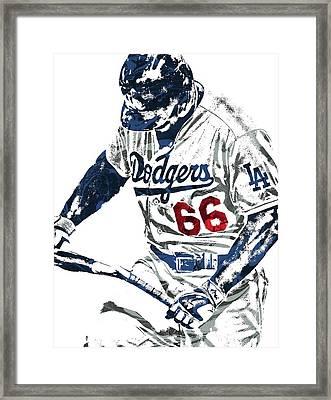 Framed Print featuring the mixed media Yasiel Puig Los Angeles Dodgers Pixel Art by Joe Hamilton