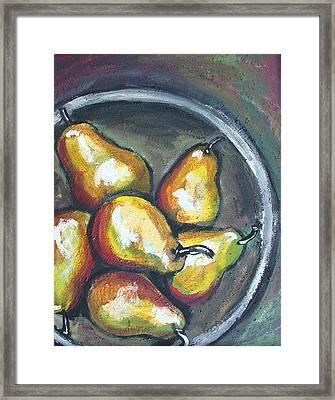 Framed Print featuring the painting Yellow Pears by Sarah Crumpler