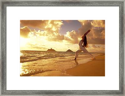 Yoga At Sunrise Framed Print by Dana Edmunds - Printscapes