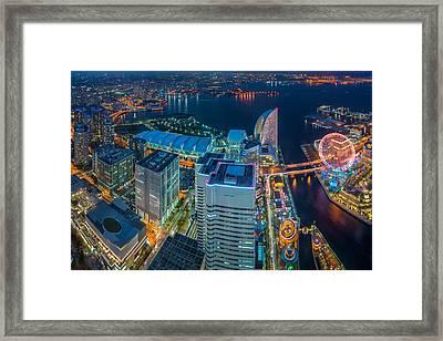 Yokohama, Japan Waterfront Cityscape. Framed Print