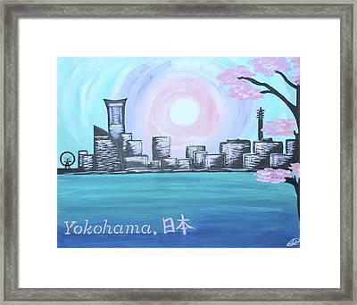 Yokohama Skyline Framed Print by Cyrionna The Cyerial Artist