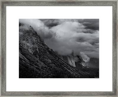Yosemite Valley Panorama In Black And White Framed Print