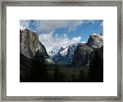 Yosemite Valley View In Winter Framed Print