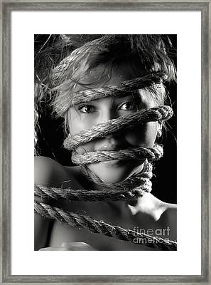 Young Expressive Woman Tied In Ropes Framed Print