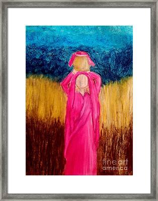 Young Girl Giving Prayer Framed Print by Ayasha Loya