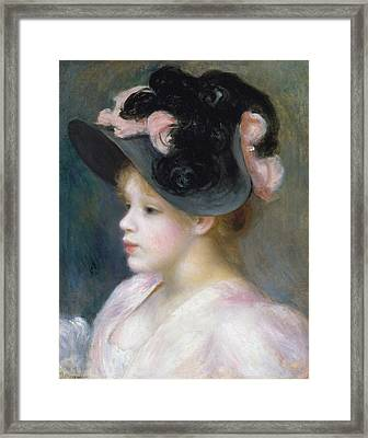 Young Girl In A Pink-and-black Hat Framed Print by Auguste Renoir