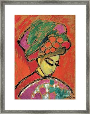 Young Girl With A Flowered Hat Framed Print by Celestial Images