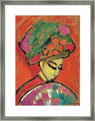 Young Girl With A Flowered Hat Framed Print by Alexej von Jawlensky