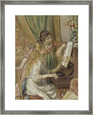 Young Girls At The Piano Framed Print by Auguste Renoir