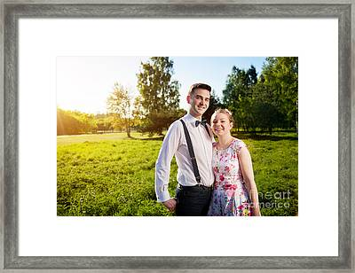 Young Happy Couple In Love Portrait In Summer Park Framed Print