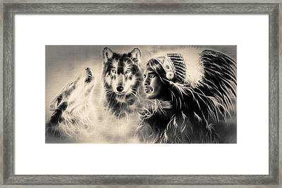 Young Indian Warrior Accompanied With Two Wolves Framed Print by Jozef Klopacka