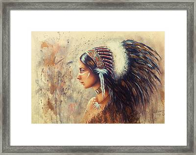 Young Indian Woman Wearing A Big Feather Headdress. A Profile Portrait On Structured Abstract Backgr Framed Print