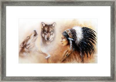 Young Indian Woman Wearing A Gorgeous Feather Headdress With Wolves Framed Print