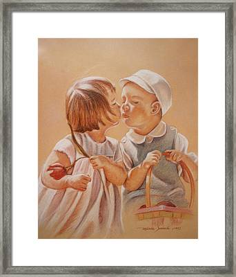 Framed Print featuring the painting Young Love  by Melinda Saminski