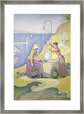 Young Women Of Provence At The Well, 1892 Framed Print by Paul Signac