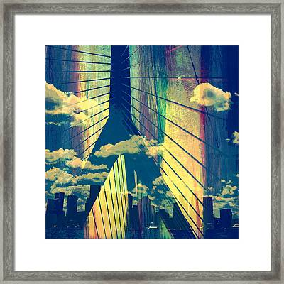 Zakim Bridge Boston V4 Framed Print by Brandi Fitzgerald
