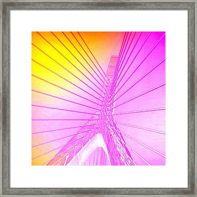 Zakim Bridge Boston V5 Framed Print by Brandi Fitzgerald