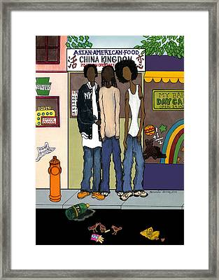 Zee Hoody Boyz Framed Print by Karen-Lee