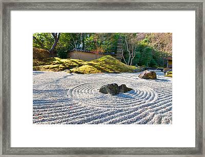 Zen Garden At A Sunny Morning Framed Print by Ulrich Schade