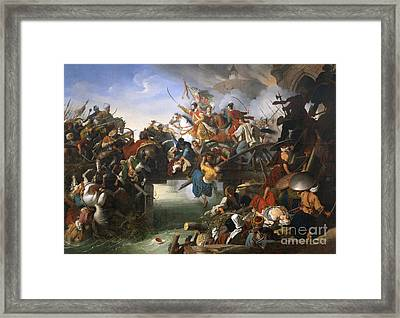 Zrinyi's Charge From The Fortress Of Szigetvar Framed Print by Celestial Images