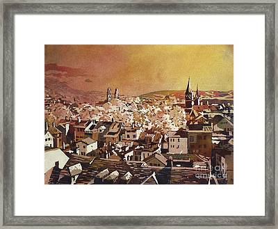 Zurich Skyline Framed Print by Ryan Fox