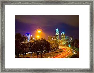 Downtown Of Charlotte  North Carolina Skyline Framed Print by Alex Grichenko