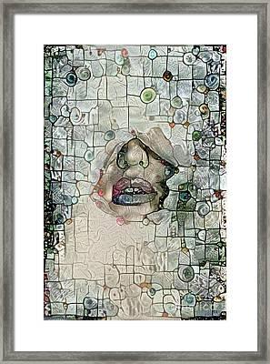 Hidden Face With Lipstick Framed Print