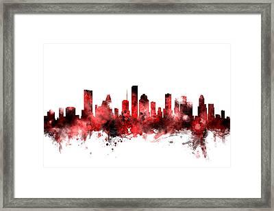 Houston Texas Skyline Framed Print by Michael Tompsett